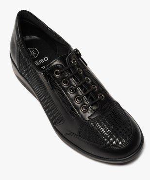 Derbies femme confort unis à lacets et zip vue5 - GEMO (CONFORT) - GEMO