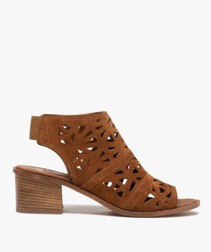 Sandales femme à talon carré et tige couvrante ajourée vue1 - GEMO(URBAIN) - GEMO