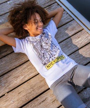 Tee-shirt garçon à manches courtes imprimé streetwear vue4 - GEMO C4G GARCON - GEMO