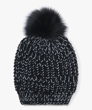Bonnet fille en maille pailletée avec pompon en poils duveteux vue1 - Nikesneakers (ENFANT) - Nikesneakers