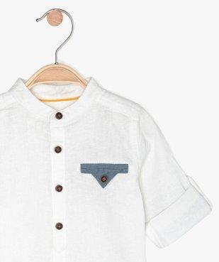 Chemise bébé garçon à manches longues et col mao vue2 - GEMO(BEBE DEBT) - GEMO