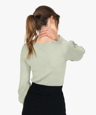 Pull femme en maille côtelée avec grand col carré vue3 - GEMO(FEMME PAP) - GEMO