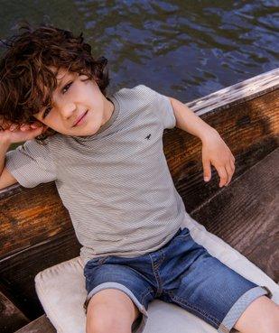 Tee-shirt garçon à fines rayures vue4 - GEMO C4G GARCON - GEMO