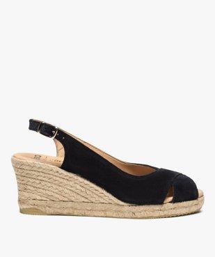 Sandales femme à talon compensé et dessus cuir velours vue1 - GEMO(URBAIN) - GEMO