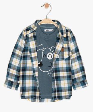 Ensemble bébé garçon (2 pièces) chemise et tee-shirt vue1 - GEMO(BEBE DEBT) - GEMO