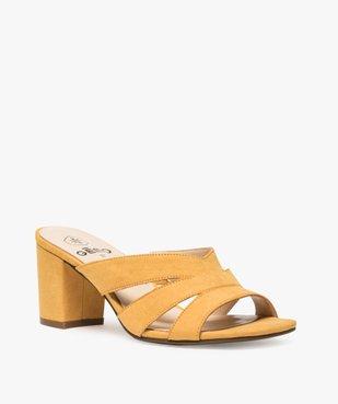 Sandales femme mules à talon en suédine unie vue2 - GEMO(URBAIN) - GEMO