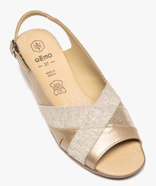 Sandales femme confort en cuir avec détails brillants vue5 - GEMO (CONFORT) - GEMO
