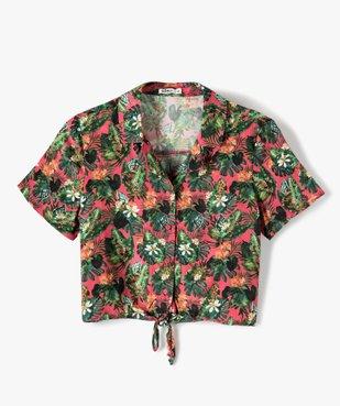 Chemise fille coupe courte à nouer dans le bas vue1 - GEMO (JUNIOR) - GEMO
