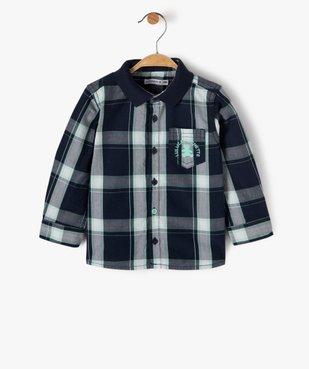 Chemise bébé garçon à manches longues et carreaux à col polo - Lulu Castagnette vue1 - LULUCASTAGNETTE - Nikesneakers