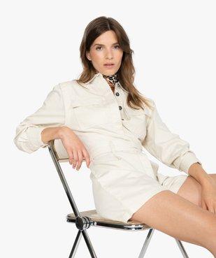 Combishort femme à boutons et ceinture vue1 - GEMO - GEMO