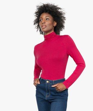 Tee-shirt femme uni avec col roulé et manches longues vue1 - GEMO(URBAIN) - GEMO