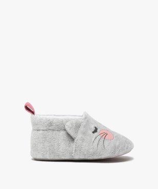 Chaussons de naissance bébé fille en velours motif chat vue1 - GEMO(BB COUCHE) - GEMO