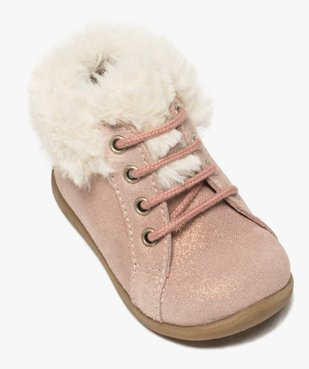 Chaussures premiers pas bébé fille en cuir à col fourré vue5 - Nikesneakers(BEBE DEBT) - Nikesneakers