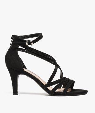 Sandales femme à talon avec fines brides brillantes vue1 - GEMO(URBAIN) - GEMO