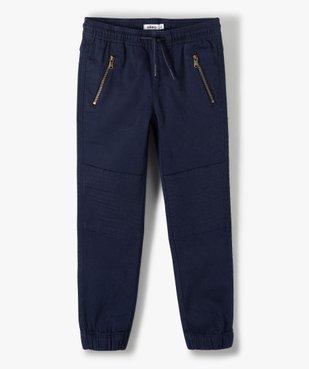 Pantalon garçon avec empiècements surpiqués aux genoux vue1 - GEMO C4G GARCON - GEMO