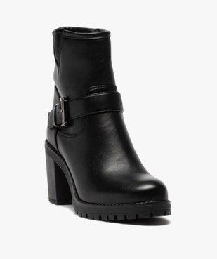 Boots femme unis à semelle crantée et bride fantaisie vue2 - GEMO(URBAIN) - GEMO