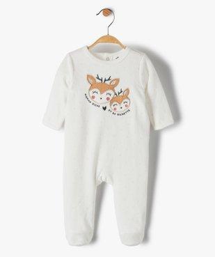 Pyjama dors-bien bébé fille en velours avec motif biches vue1 - GEMO(BB COUCHE) - GEMO