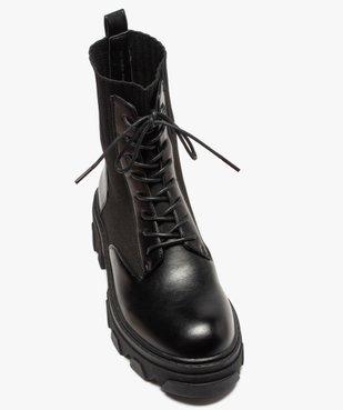 Boots femme unies à semelle crantée et col en maille vue5 - GEMO (CASUAL) - GEMO