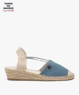 Sandales femme en toile à talon compensé – Terre de Marins Dessus denim vue1 - TERRE DE MARINS - GEMO