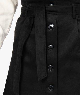 Jupe femme en suédine ouverture boutons avec ceinture vue2 - GEMO(FEMME PAP) - GEMO