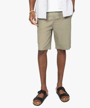 Bermuda homme élégant 55% lin vue1 - GEMO (HOMME) - GEMO