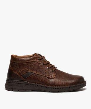 Boots homme à lacets dessus cuir uni  vue1 - GEMO (CASUAL) - GEMO