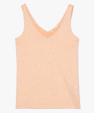 Haut de pyjama femme à col dentelle avec coton bio vue4 - GEMO C4G FEMME - GEMO