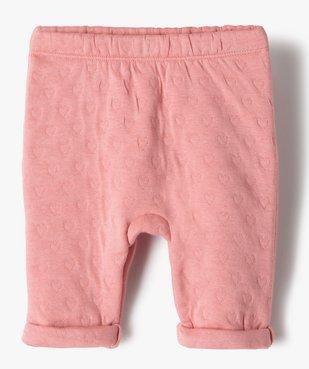 Pantalon bébé fille en maille effet matelassé vue1 - GEMO(BB COUCHE) - GEMO