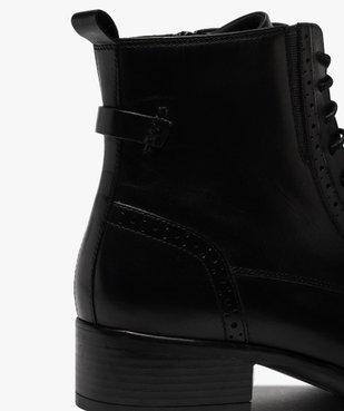 Boots femme à talon plat style derbies à lacets et zip vue6 - GEMO (CASUAL) - GEMO