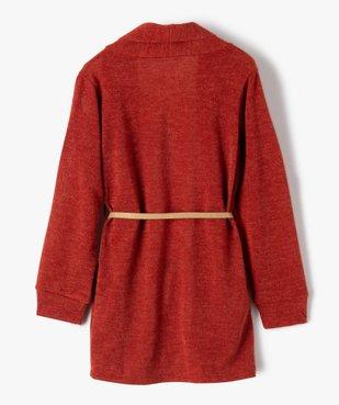 Gilet fille porté ouvert avec col châle et ceinture pailletée vue4 - GEMO (ENFANT) - GEMO