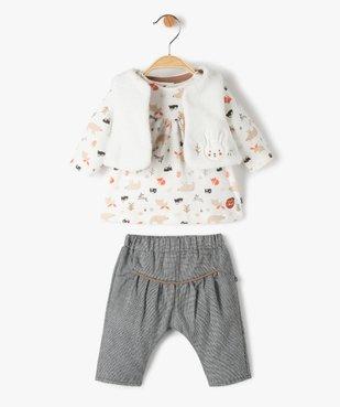 Ensemble bébé fille 3 pièces : tee-shirt + gilet + pantalon - Sucre d'Orge vue1 - SUCRE D'ORGE - Nikesneakers