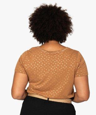 Tee-shirt femme à col V et détails dorés vue3 - GEMO (G TAILLE) - GEMO