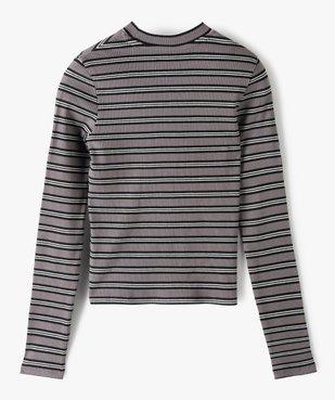 Tee-shirt fille rayé à manches longues et col montant vue3 - GEMO C4G FILLE - GEMO
