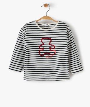 Tee-shirt bébé fille à rayures et motif sequins – Lulu Castagnette vue2 - LULUCASTAGNETTE - GEMO