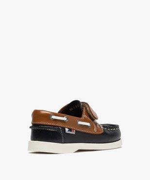 Chaussures bateau garçon dessus cuir à fermeture scratch Dessus cuir lisse bicolore vue4 - GEMO (ENFANT) - GEMO