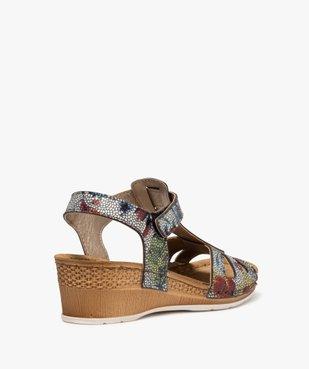 Sandales femme à talon compensé fermeture scratch vue4 - GEMO(URBAIN) - GEMO