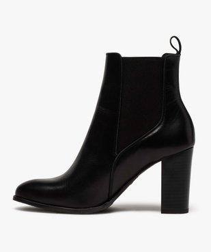 Boots femme à talon dessus style chelsea en cuir uni vue3 - GEMO(URBAIN) - GEMO