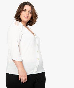 Blouse femme avec boutons sur l'avant et épaules en dentelle vue1 - Nikesneakers (G TAILLE) - Nikesneakers