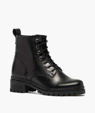 Boots femme dessus cuir uni à lacets et semelle crantée vue2 - GEMO (CASUAL) - GEMO