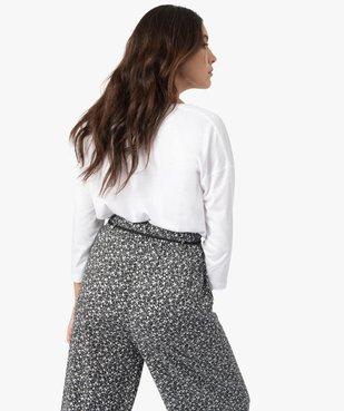 Tee-shirt femme à manches ¾ col V vue3 - GEMO(FEMME PAP) - GEMO