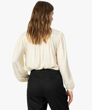 Blouse femme à manches longues avec haut froncé vue3 - GEMO(FEMME PAP) - GEMO