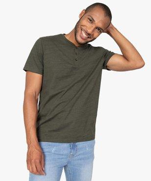 Tee-shirt homme chiné à manches courtes et col tunisien  vue1 - GEMO C4G HOMME - GEMO
