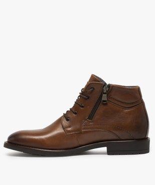 Boots homme zippés dessus cuir uni fermeture lacets vue3 - GEMO (CASUAL) - GEMO