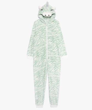 Combinaison pyjama fille douillette imprimé zèbre vue1 - GEMO (JUNIOR) - GEMO