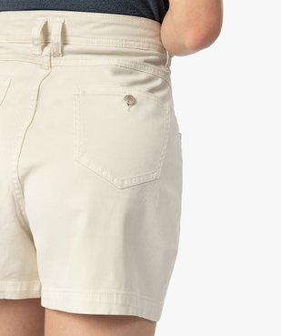 Short femme en toile de coton taille haute vue6 - GEMO(FEMME PAP) - GEMO