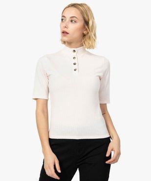 Tee-shirt femme en maille côtelée à manches courte vue1 - FOLLOW ME - GEMO