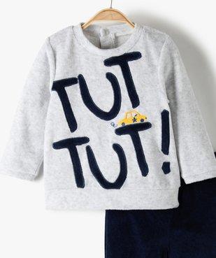 Pyjama garçon en velours motif voiture vue2 - GEMO(BB COUCHE) - GEMO