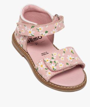 Sandales bébé fille à talon fermé et brides en cuir imprimé vue5 - GEMO(BEBE DEBT) - GEMO