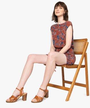 Combi-short femme imprimé en maille froissée vue1 - Nikesneakers(FEMME PAP) - Nikesneakers