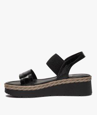 Sandales femme à talon compensé et brides élastiques vue3 - GEMO(URBAIN) - GEMO